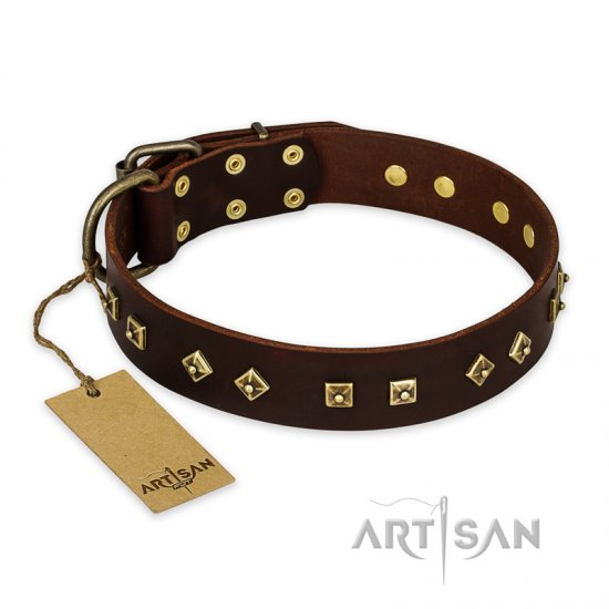 """Fashion Studs"" FDT Artisan Decorated Leather dog Collar with Old Bronze-Plated Steel Hardware"