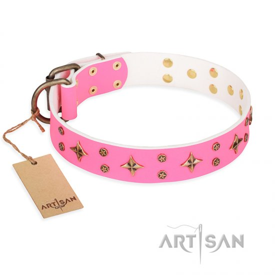 'Chi-Chi Pink Rose' FDT Artisan Leather Dog Collar with Decorations