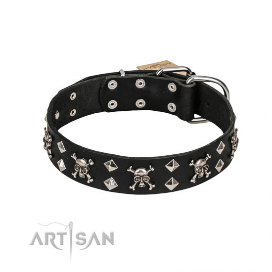FDT Artisan 'Rock 'n' Roll Style' Fancy Leather Dog Collar with Skulls, Bones and Studs 1 1/2 inch (40 mm) wide