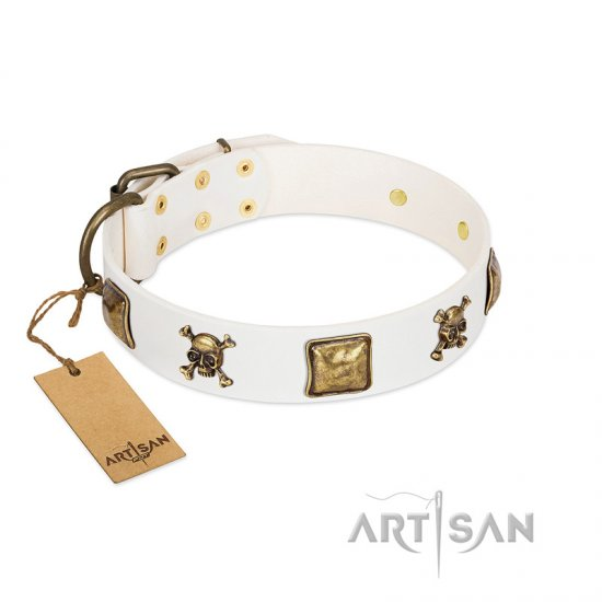 """Glo Up"" FDT Artisan White Leather dog Collar with Skulls and Crossbones Combined with Squares"