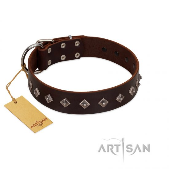 """Boundless Energy"" Premium Quality FDT Artisan Brown Designer Leather dog Collar with Small Pyramids"
