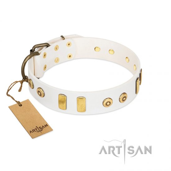 """Golden Union"" Elegant FDT Artisan White Leather dog Collar with Old Bronze-like Dotted Studs and Tiles"