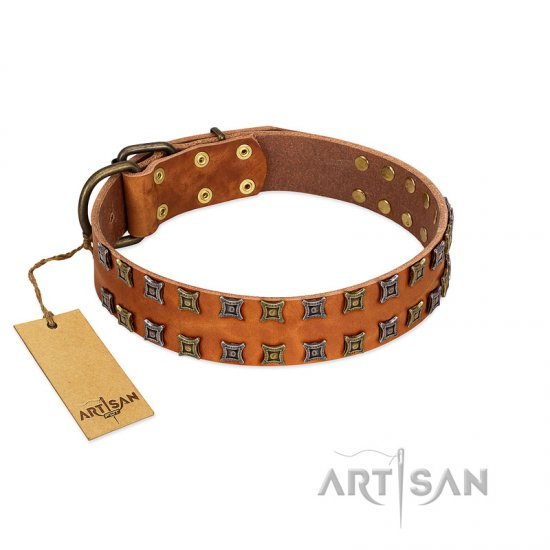 """Terra-cotta"" FDT Artisan Tan Leather dog Collar with Two Rows of Studs - Click Image to Close"