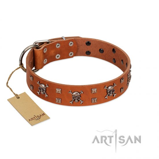 """Rebellious Nature"" FDT Artisan Tan Leather dog Collar Embellished with Crossbones and Square Studs"