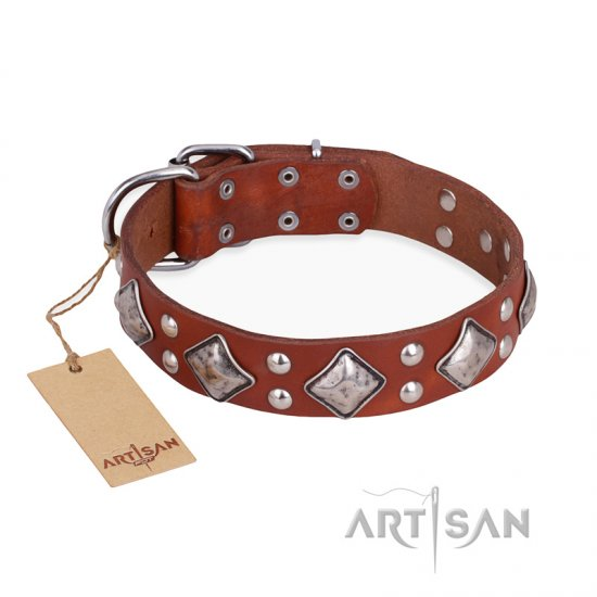 """Magic Squares"" FDT Artisan Tan Leather dog Collar with Silver-like Decor"