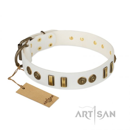 """Midsummer Snow"" FDT Artisan White Leather dog Collar with Old Bronze-like Plates and Circles"