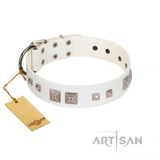 """Pure Quadratic"" Designer Handmade FDT Artisan White Leather dog Collar"