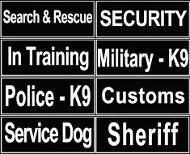 K9 Identification Patches for Dog Harnesses and Collars