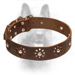 'Flower Blues' Leather Canine Collar