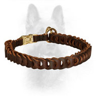 Braided Leather Choke Police Dog Collar