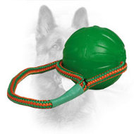 Bright Rubber Dog Training Ball with Nylon Rope