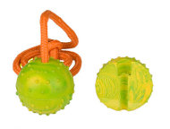 Rubber K9 Training Ball on Nylon Rope - Medium