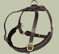 Padded Pulling Harness for Canine Dog -Leather Dog Harness-K9 Dogs