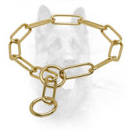'Chain Trainer' Brass K9 Choke Collar with Large Links - 1/6 inch (4 mm) link diameter