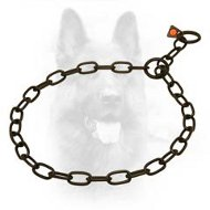 Black Stainless Steel K9 Fur Saver Choke Collar - 1/9 inch (3.0 mm) link diameter