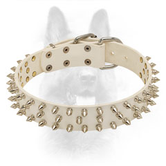 White Leather Canine Collar with Spikes