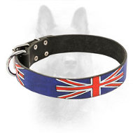 United Kingdom Flag Painted Leather Canine Collar