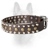 Designer K9 Leather Dog Collar With Pyramids And Studs