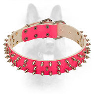 Canine Pink Leather Collar with Steel Nickel Plated Spikes