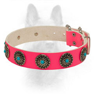 Pink Leather K9 Collar with Round Circles and Blue Stones