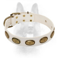 Extraordinary White Leather K9 Collar with Vintage Oval Plates