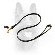 Flat Leather Dog Leash for K9 with Gold-Color Fittings