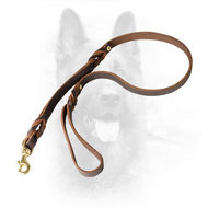 K9 Leather Dog Leash with Additional Handle