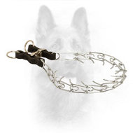 Chrome Plated K9 Pinch Collar with Leather Details - 2.25 mm (1/11 inch) prong diameter