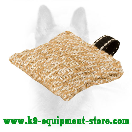 Jute Dog Bite Pillow with Small Loop