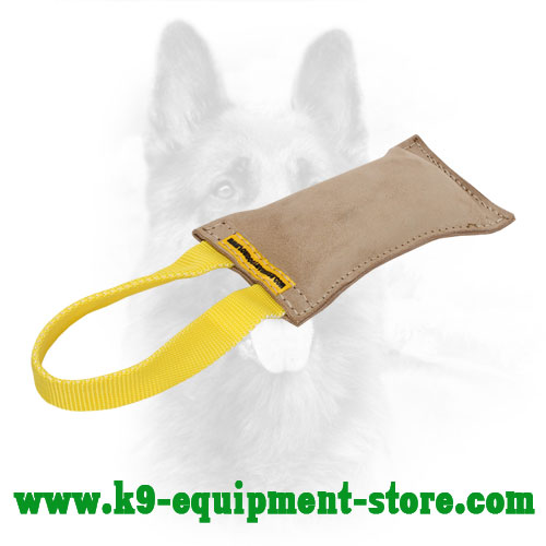 K9 Leather Bite Tug with Stitched Edges