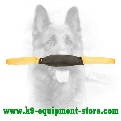 Leather K9 Bite Tug with Two Nylon Handles