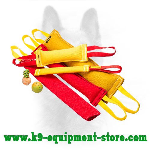 French Linen Canine Bite Tug Set with Three Bonus Toys