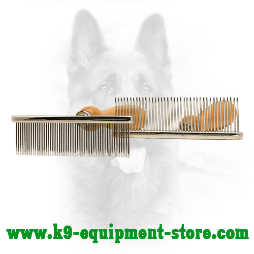 Metal Canine Comb with Wooden Handle