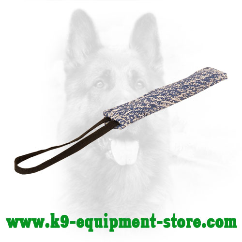 French Linen Canine Bite Tug with One Loop Handle