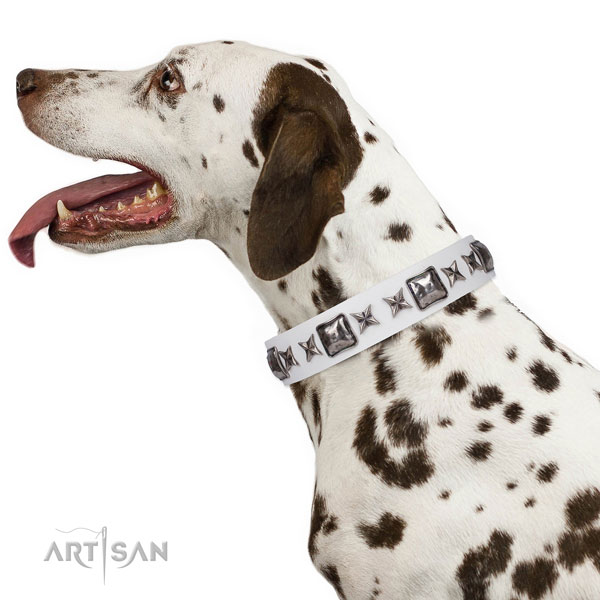 Designer adorned natural leather dog collar for comfortable wearing