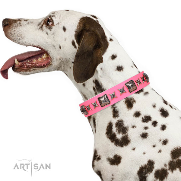 Extraordinary embellished leather dog collar for easy wearing