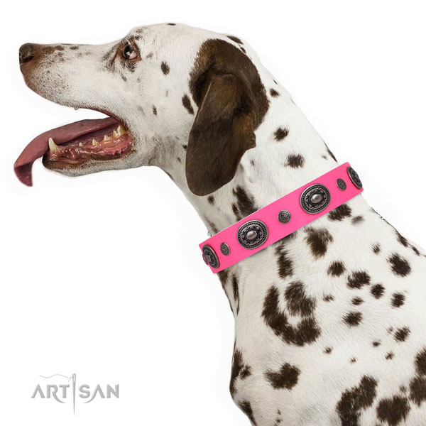Natural leather dog collar with corrosion resistant buckle and D-ring for comfortable wearing