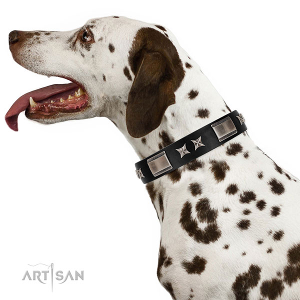 Handy use soft to touch leather dog collar with decorations