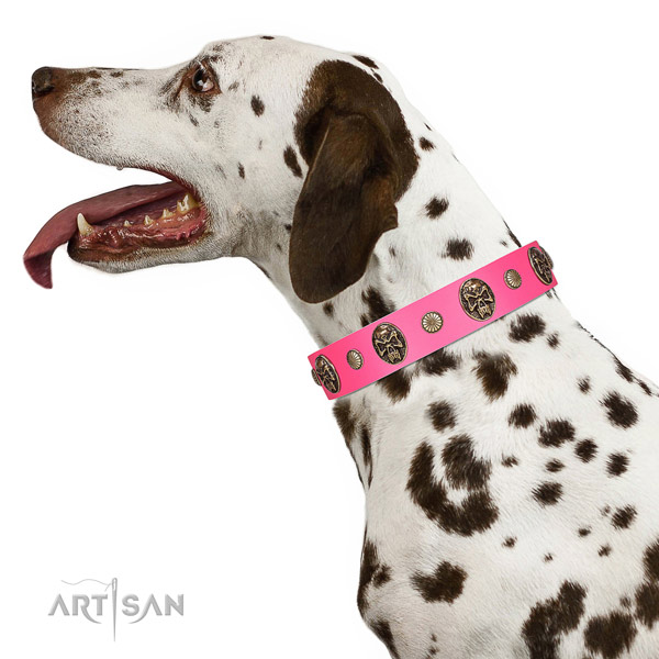 Durable D-ring on full grain genuine leather dog collar for everyday use