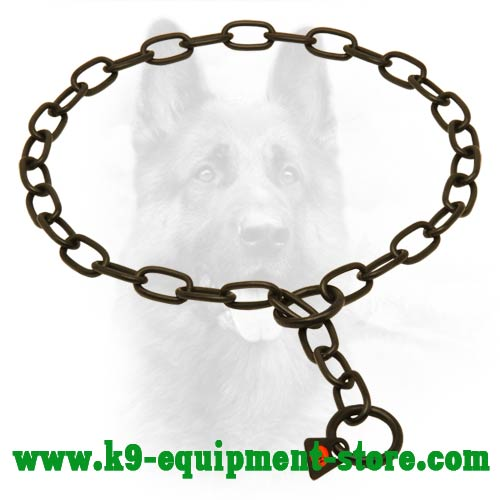 Canine Choke Fur Saver Collar Made of Black Stainless Steel