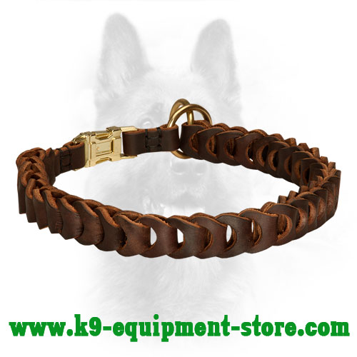 Leather Dog Collar Choke K9