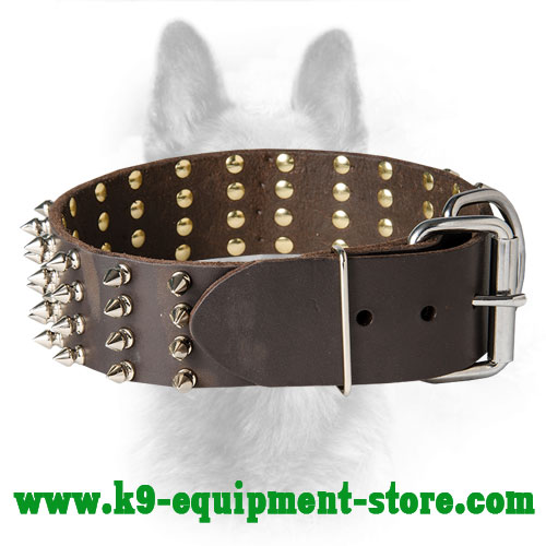 Police Dog Collar Leather with Durable Buckle and  D-ring