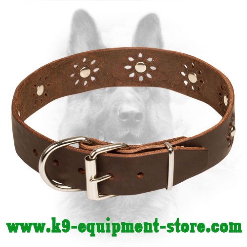 K9 Leather Dog Collar Nickel Buckle