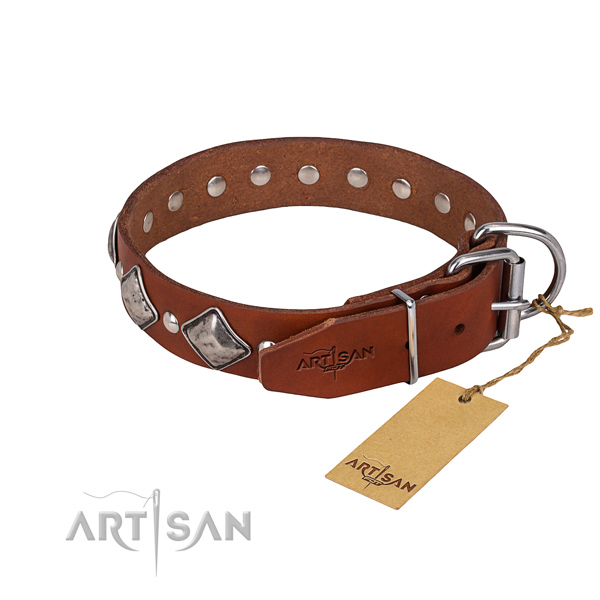 Resistant leather dog collar with rust-proof hardware