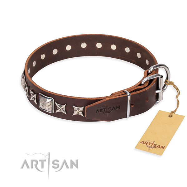 Daily walking full grain genuine leather collar with embellishments for your four-legged friend