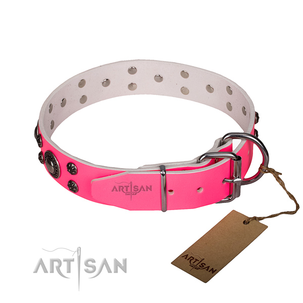 Everyday walking full grain natural leather collar with reliable buckle and D-ring