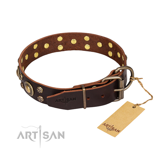 Daily walking full grain genuine leather collar with decorations for your doggie