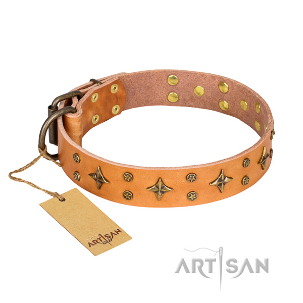 Incredible full grain genuine leather dog collar for handy use