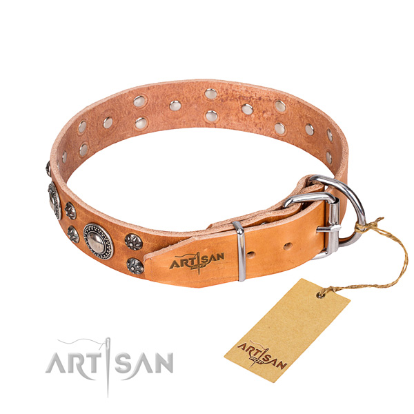 Handy use leather collar with adornments for your four-legged friend