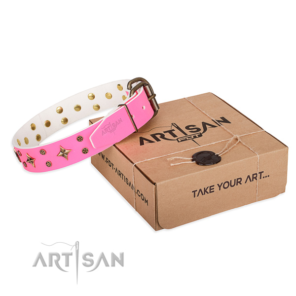 Studded full grain genuine leather dog collar for comfy wearing